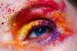 Closeup portrait and eye. Creative colorful rainbow makeup. Perfect shining skin. Photo is taken in a studio. Autumn colors. Beauty of the face