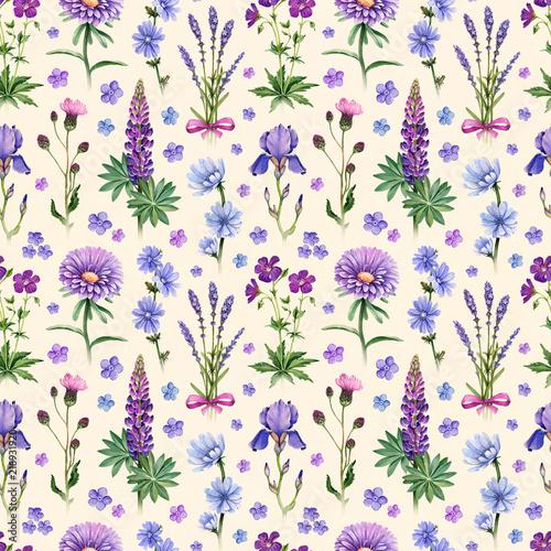 akwarela-ilustracje-niebieskie-i-fioletowe-kwiaty-wzor