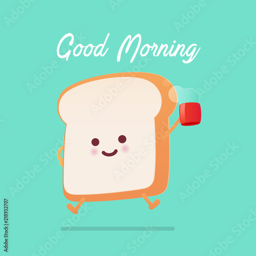 Valokuvatapetti Good morning greeting on toasted bread cartoon against green background