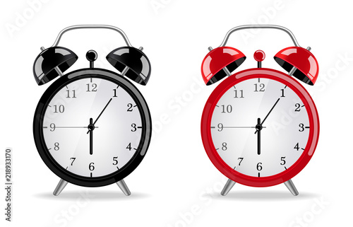 Obraz Alarm clock Vector realistic. Red and black clocks isolated on whites - fototapety do salonu