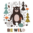 poster bear and hedgehog in forest Scandinavian style - vector illustration, eps