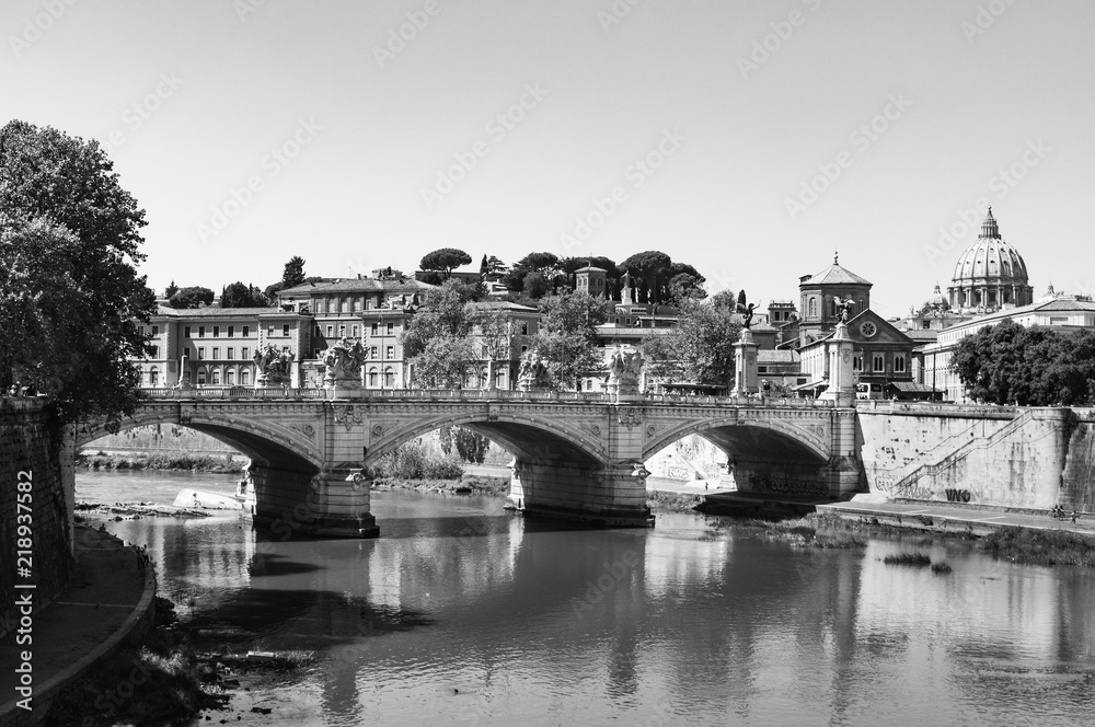 Obraz Rome Panorama Italy in black and white fototapeta, plakat