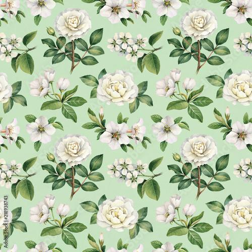 akwarela-biale-kwiaty-wzor
