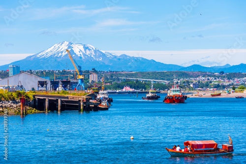 PUERTO MONTT, CHILE - JANUARY 12, 2018: View of the Osorno volcano. Copy space for text.
