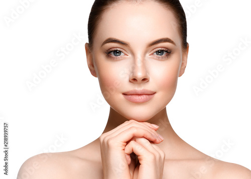 Fotografiet Beauty woman face with healthy skin lips natural makeup healthy fresh skin and h
