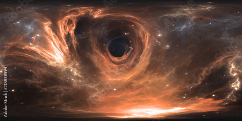 360 degree massive black hole panorama, equirectangular projection, environment map. HDRI spherical panorama. Space background with black hole and stars - 218939994
