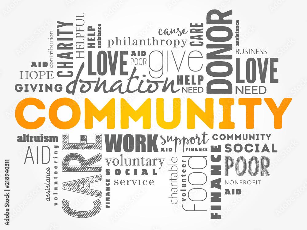 Fototapeta Community word cloud collage, social concept background