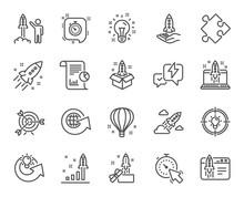 Startup Line Icons. Set Of Lau...