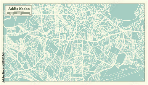 Fototapety, obrazy: Addis Ababa Ethiopia City Map in Retro Style. Outline Map.