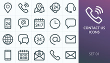 Contact Us Icons Set. Set Of B...