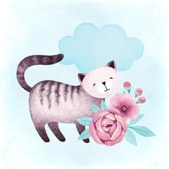 Fototapeta Do pokoju dziecka Watercolor illustration of a cat and flowers