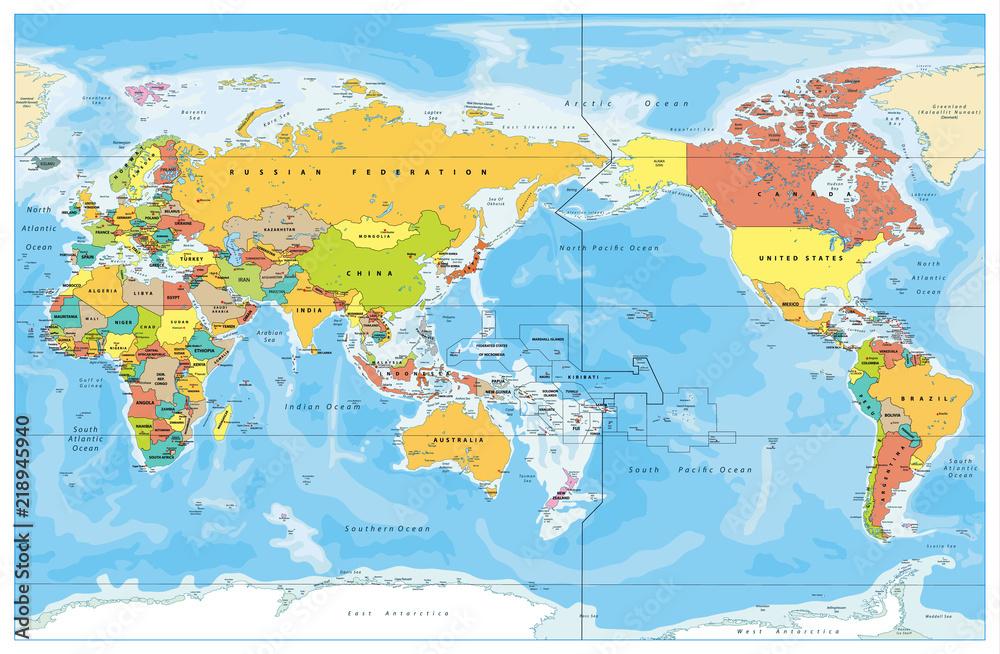 Fototapeta Pacific Centered World Colored Map