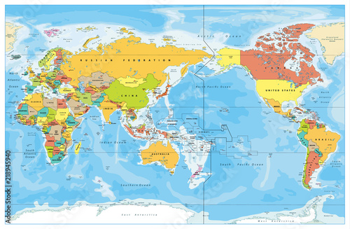 Photo Pacific Centered World Colored Map