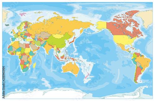 Plakaty kula ziemska - drukowane na wymiar pacyficzna-mapa-swiata-bez-nazw-krain-geograficznych-i-panstw