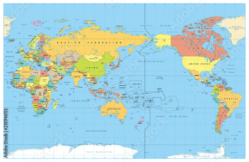 Fotografie, Obraz  Pacific Centered World Colored Map. No Bathymetry
