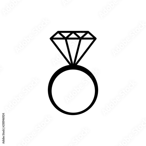 Simple Black And White Diamond Wedding Ring Icon Vector Buy This