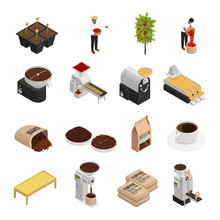 Coffee Isometric Icons Collection