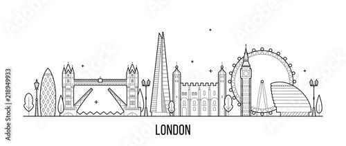 Fototapeta London skyline, England, UK city buildings vector