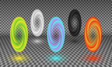 Various Color Portals Isolated On Transparency Background. Magical Tunnel Or Fictional Wormhole, Space And Time Portal Effect, Teleportation Energy Spiral Design Element.