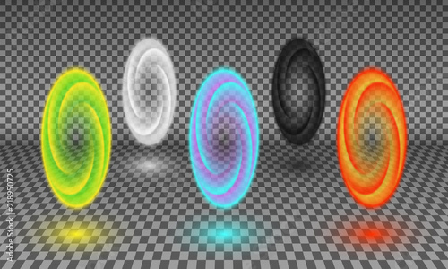 Photo Various color portals isolated on transparency background
