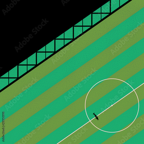 birds eye view of a single person stood along on a football pitch