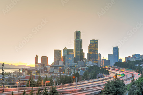 Seattle skylines and s-curved I-90, I-5 highway interchange