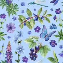 Summer Seamless Pattern. Watercolor Illustrations Of Flowers, Berries And Insects