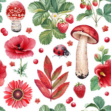 Summer Seamless Pattern. Watercolor Illustrations Of Flowers, Berries, Mushrooms And Insects