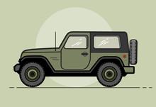 Vector Modern Retro Khaki Jeep...