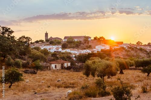 Photo sunset in Valencia de Alcantara, Cáceres, Extremadura, Spain