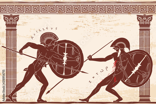Photo Two ancient Greek warrior Hector and Achilles with a spear and shield in his hands is fight between the columns on a beige background with an aged effect