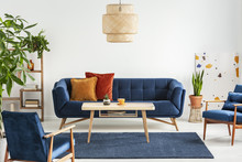 Blue Wooden Armchairs And Couc...