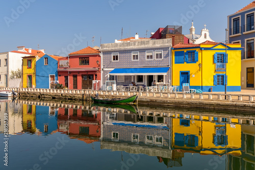 Fotografie, Obraz  Colorful town of Aveiro and reflections in canal waters.