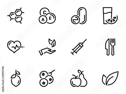 Fototapeta Set of black vector icons, isolated against white background. Illustration on a theme Vitamins and supplements. Natural and chemical obraz