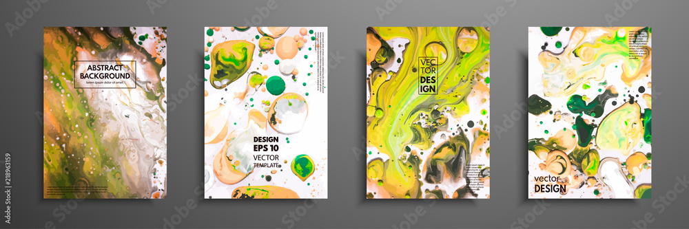 Fototapeta Hand drawn collection of card made by acrylic homemade texture. Liquid colorful texture. Fluid art. Abstract painting templates. Design for banner, poster, cover, invitation, placard, brochure, flyer