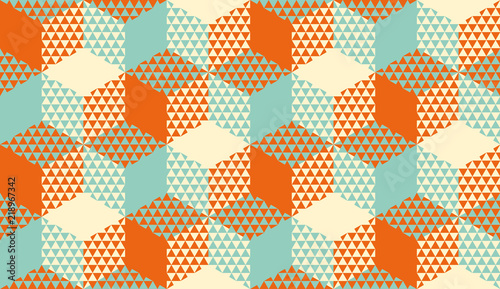 Hexagons and triangles geometric seamless pattern Wallpaper Mural