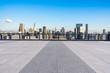 city skyline with empty square