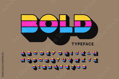 Obraz Modern bold typeface font design, alphabet letters and numbers - fototapety do salonu