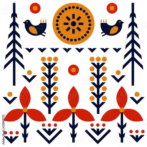 Folk art pattern in Scandinavian, Nordic style Tapéta, Fotótapéta