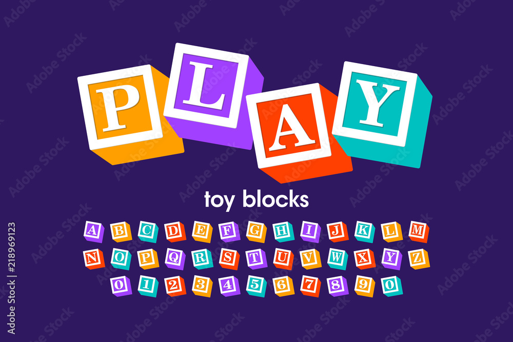 Fototapeta Toy blocks font, alphabet letters and numbers