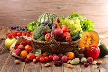 Wicker Basket With Fruit And V...