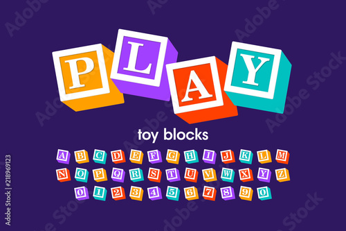 Toy blocks font, alphabet letters and numbers Wallpaper Mural