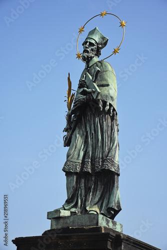 Staande foto Praag Statue of Saint John of Nepomuk on Charles Bridge in Prague, Czech Republic.