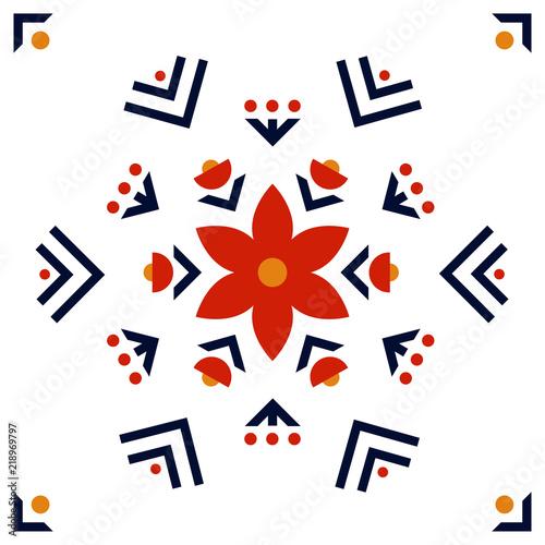 Fotografija  Folk art pattern in Scandinavian, Nordic style