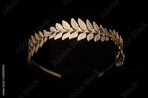 golden laurel wreath, headband isolated on black Canvas Print