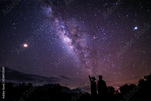 Fotobehang Nacht Night sky stars with milky way on mountain background