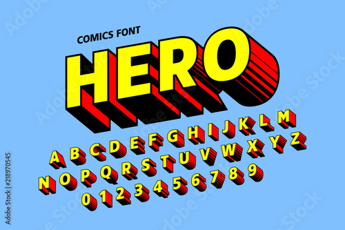Photo  Comics style font design, alphabet letters and numbers