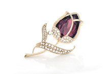Gold Brooch Rose Bud With Crimson Stone And Diamonds Isolated On White