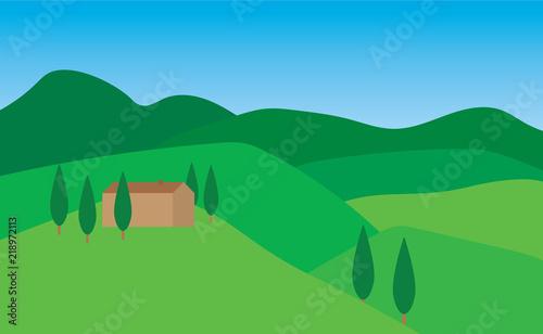 In de dag Blauw summer tuscany landscape- vector illustration