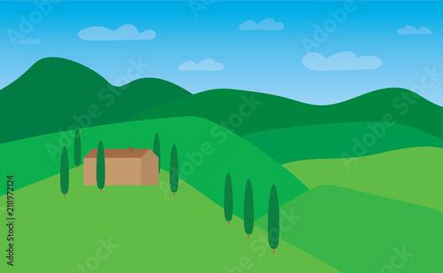 summer tuscany landscape- vector illustration